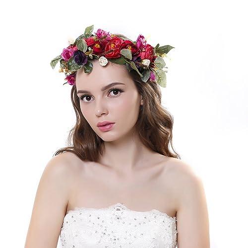 Cinta para el cabello Ever Fairy® de corona de flores, ajustable, para mujer o niñas