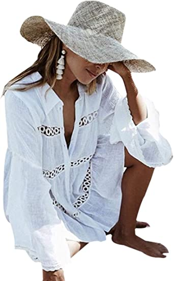 Amazon Com Buttzo Women S Cotton Beachwear Bikini Swimwear Beach Club Sexy Lace Cover Up Tops Bathing Suit One Size Eyelet Trim White Clothing