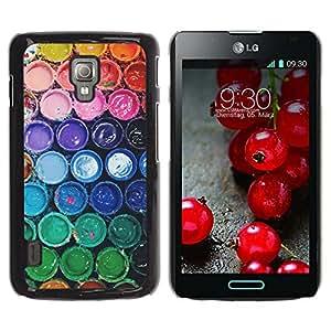 For LG Optimus L7 II P710 / L7X P714 Case , Colors Rainbow Pastel Bucket - Diseño Patrón Teléfono Caso Cubierta Case Bumper Duro Protección Case Cover Funda