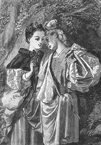 Old Antique Engraving - SHAKESPEARE. Rosalind & Celia(As you like it) - 1862 - old antique vintage print - engraving art picture prints of Shakespeare Fine arts - Illustrated London News