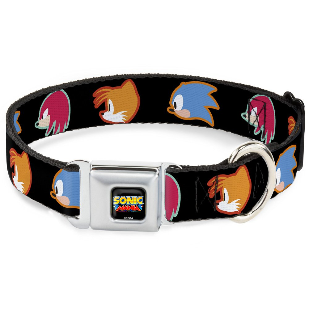 Buckle-Down Seatbelt Buckle Dog Collar Sonic Mania Sonic Tails Knuckles Profiles Black 1.5  Wide Fits 16-23  Neck Medium
