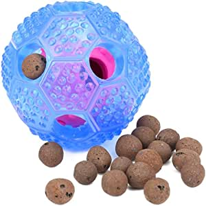 ZLYL Interactive Dog Toy - IQ Treat Ball Food Dispensing Toys for Small Medium Large Dogs Durable Chew Ball - Nontoxic Rubber and Bouncy Dog Ball - Cleans Teeth (Blue)