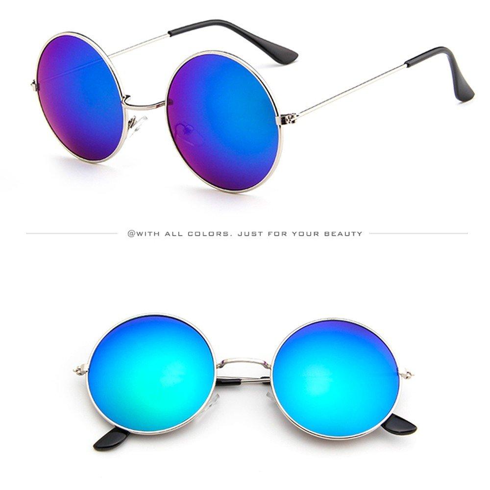 A, One Size KUDICO Unisex Sonnenbrille Retro Round Vintage Polarisierte Linsen Metall Gestell Hippi Brille John Lennon UV400 Outdoor Brillen