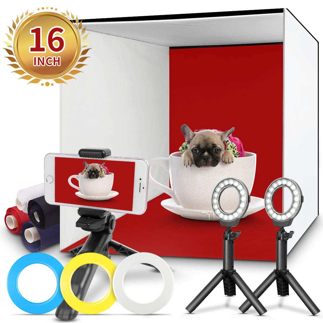Photo Studio Box, FOSITAN 16x16 inch Table Top Photo Light Box Continuous Lighting Kit with 3 Tripods, 2 LED Ring Lights, 4 Color Backdrops & a Cell Phone Holder for Photography by FOSITAN