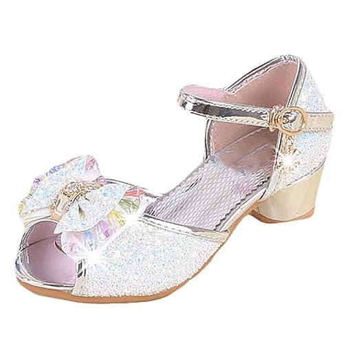 3cd89d1a254 YYF Petite Fille Belle Sandale Chaussure de Princesse Talon Confortable a  Poter Bien pour Robe