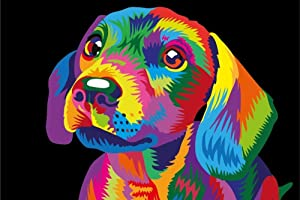 iFymei DIY Oil Painting Kit , Paint by Numbers for Adults & Kids & Beginner , 16 x 20 inch Canvas & Acrylic Paints - Colorful Cute Dog
