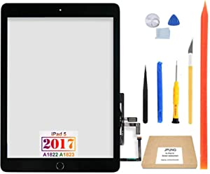 "JPUNG for iPad 5 5th Gen Touch Screen Digitizer Replacement 2017 9.7"", Only for 5th Generation A1822 A1823, with Home Button (No Touch IC), Full Repair Kit, Camera Holder, Pre-Installed Adhesive"