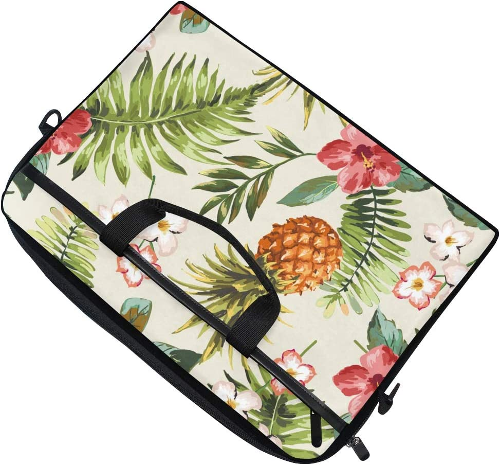 Anmarco Tropical Flowers Pineapple Laptop Shoulder Messenger Bag Case Sleeve for 14 Inch to 15.4 inch Laptop