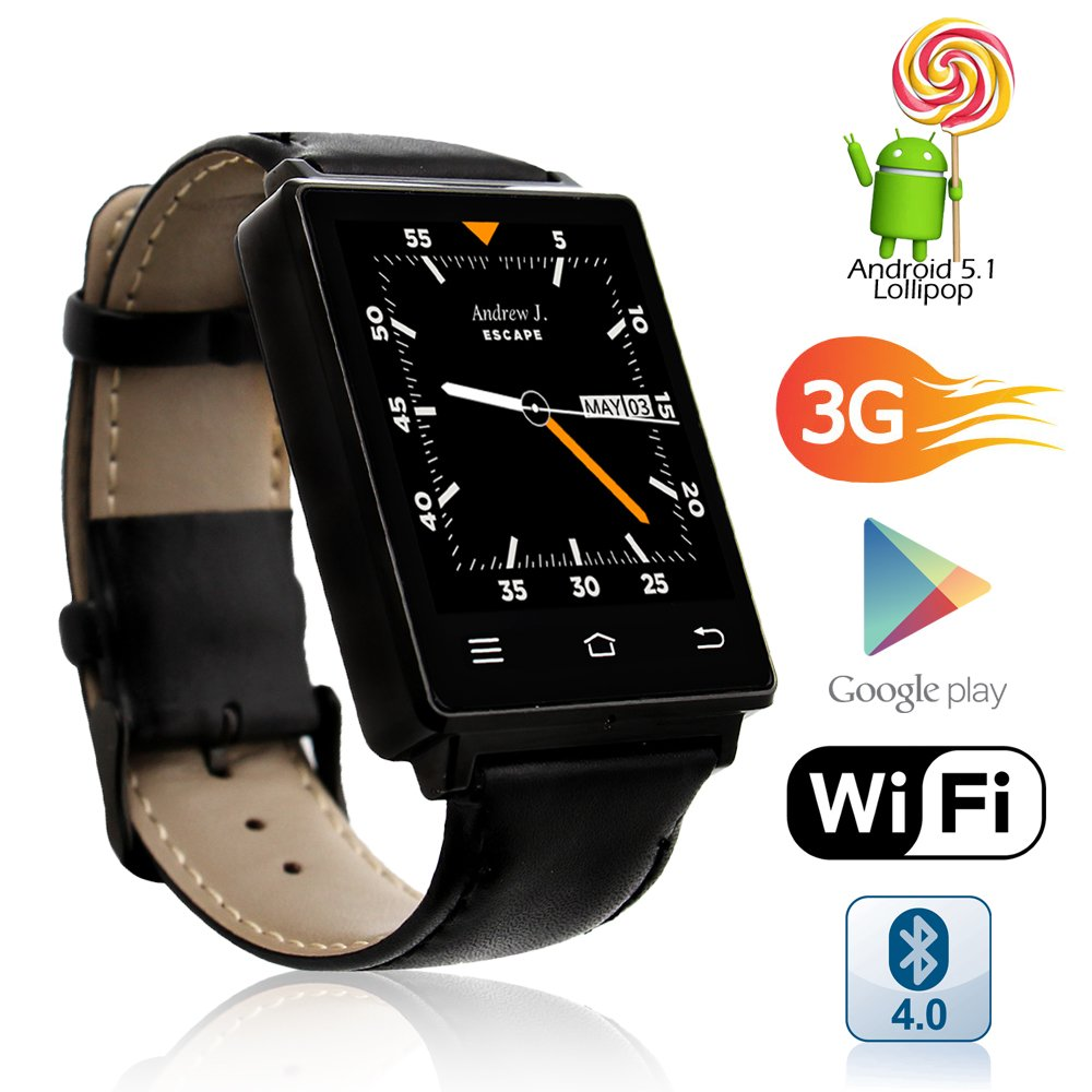 Indigi NEW 2017 Android 5.1 OS Watch & 3G Unlocked Phone + WiFi + Bluetooth 4.0 + GPS + Google Play