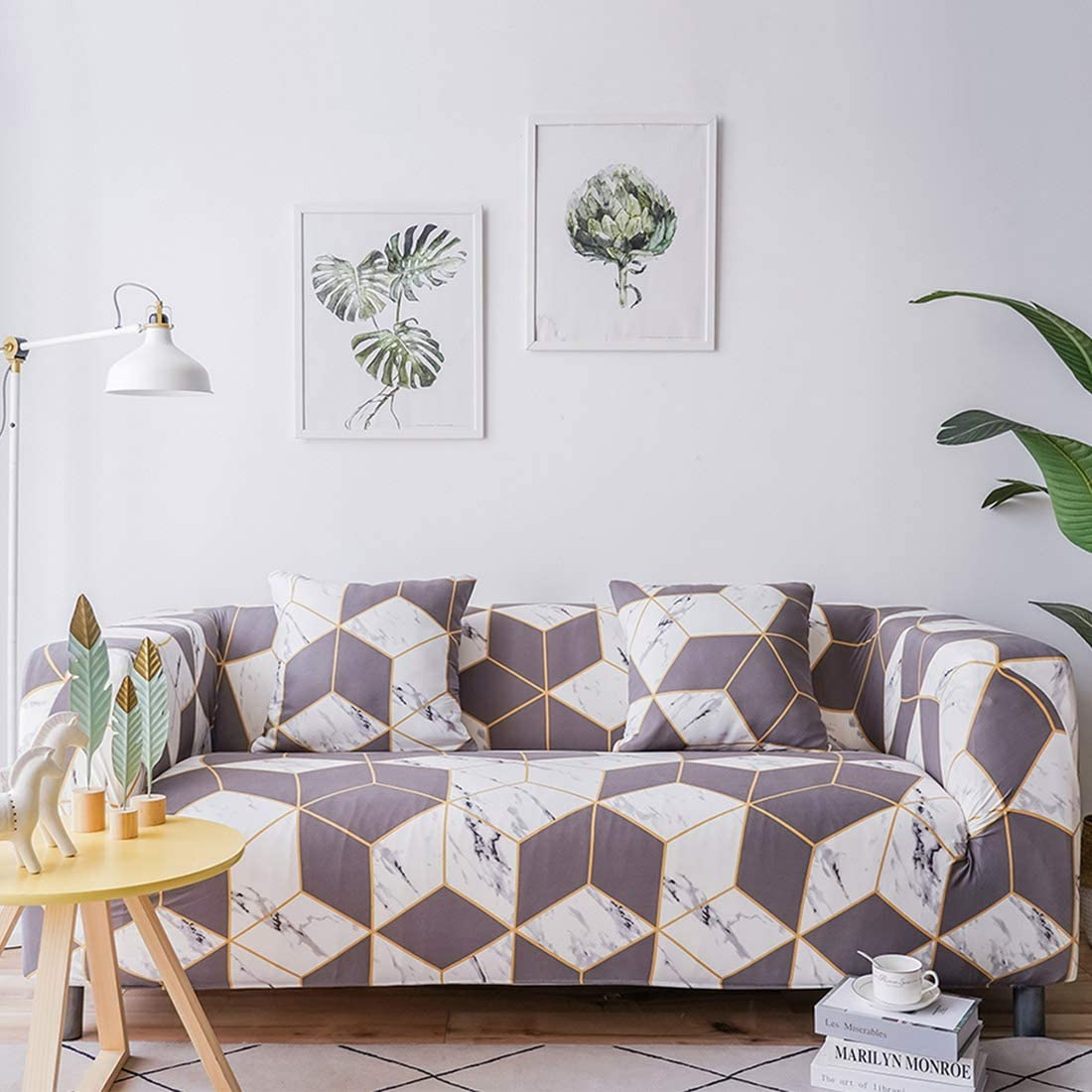 Chozan Pattern Sofa Slipcovers Stretch Printed Sofa Cover with 2 Pillowcases for 2 Seat Cushion Couch Furniture Pet Protector Spandex Cover L-Shape Available(Magic-Cube, Loveseat)