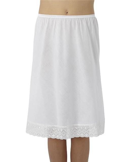 Mujer/mujer ropa interior blanca de rock mitad ya con Lace Trim de algodón,
