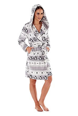 Ladies Hooded Penguin Coral Fleece Dressing Gown Robe Wrap LN705 ...