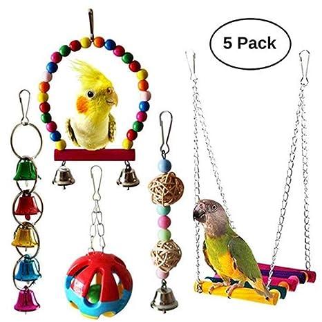Umiwe 5 Unidades Juguetes para Pájaros Colorful Columpio para ...