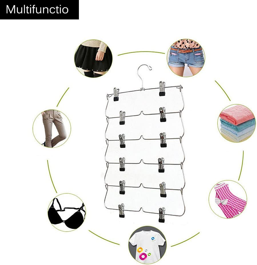 6 Tier Foldable Multi-skirt Hanger Metal Pants Hangers Closet Organizer
