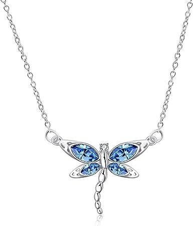 Dragonfly Aqua Pendant Charm Black Leather Necklace Tibetan Silver Handmade Gift