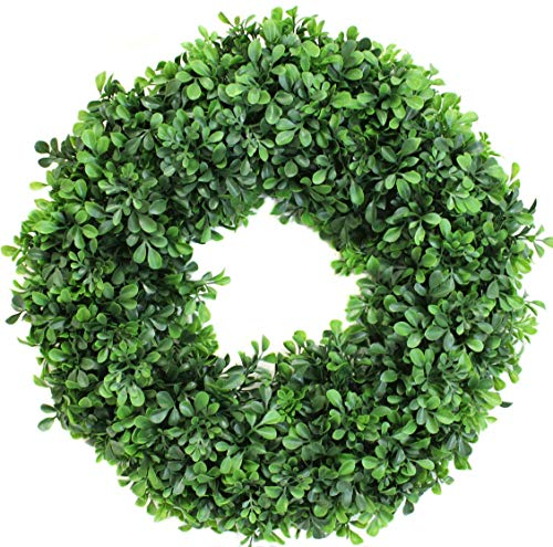 (19 Inch Boxwood Wreath Extra Plush Artificial for Front Door or Home)