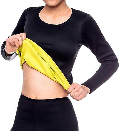 Dihope - Camiseta de compresión de neopreno para mujer, adelgazante, manga larga, para deporte, yoga, gimnasio, ejercicio, fitness, pérdida de peso: Amazon.es: Ropa y accesorios