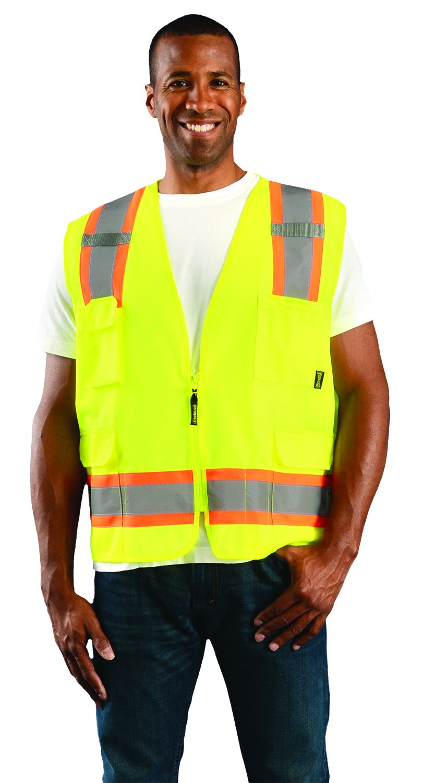 100/% ANSI Polyester Mesh Orange Class 2 Large OccuNomix ECO-ATRNSM-OL High Visibility Value Mesh Two-Tone Zipper Surveyor Safety Vest