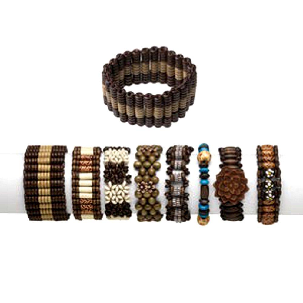 Boho Wood Bracelets Adjustable Unisex Set of 24 Different Bracelets by Charmed By Dragons (Image #2)