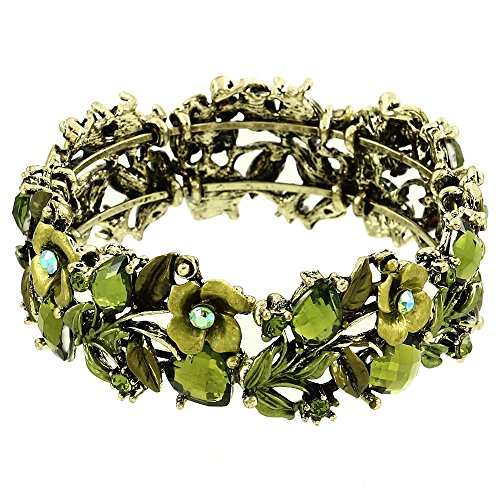 Falari Vintage Flower Bracelet Bangle Crystal Beads Hand-Painted Green BG401-AGGN
