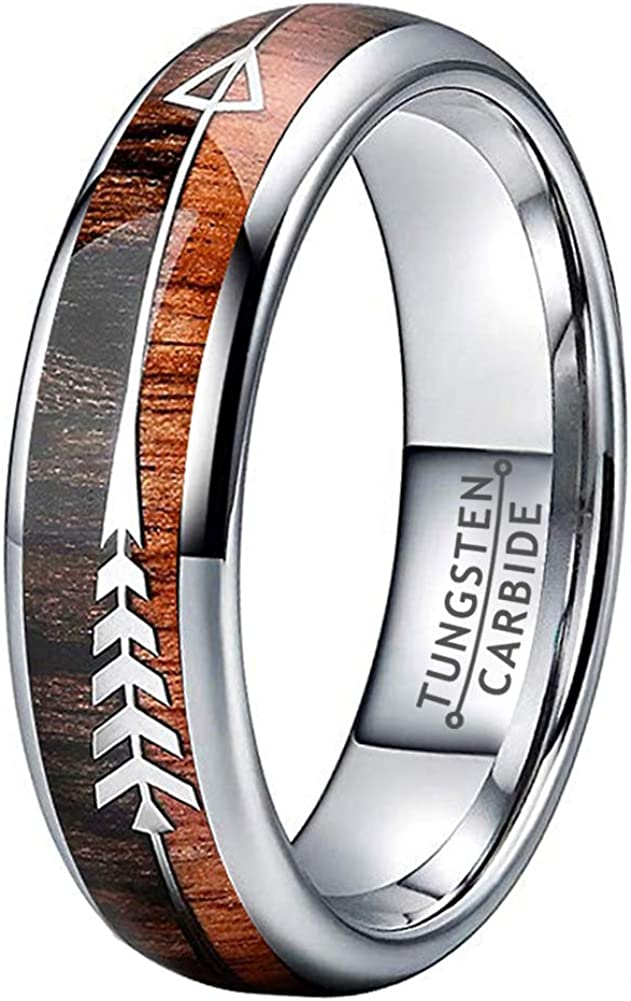 Wow Jewelers 6mm 8mm Silver/Black Tungsten Rings for Men Women Wedding Bands Koa Wood Arrow Meteorite Inlay Polished Brushed Finish Comfort Fit
