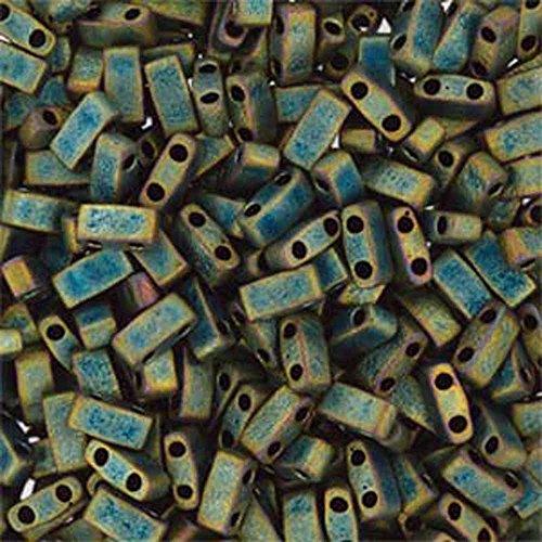 Matte Half Tila Beads 7.2 Gram Tube By Miyuki Are a 2 Hole Flat Rectangle Seed Bead 2.3x5mm 1.9mm Thick .8mm Holes (Flat Rectangle Bead Strand)