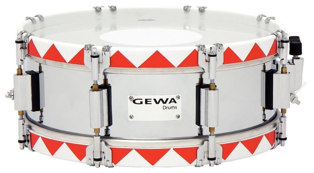 GEWA MARCHING SNARE DRUM - HISTORIC - 14 x 5 RED ZIGZAG Marching band Drums & snare drums
