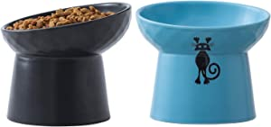 TAMAYKIM Tilted Ceramic Raised Cat Bowls, 8 OZ Food and Water Bowls Set for Kitty, Porcelain Elevated Stress Free Feeding Pet Dish, Dishwasher and Microwave Safe, 2 Pack (Black & Blue)