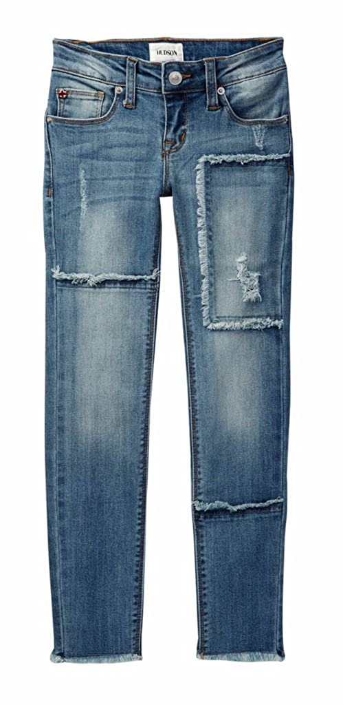 Hudson Frayed Patch Skinny Jean Big Girls