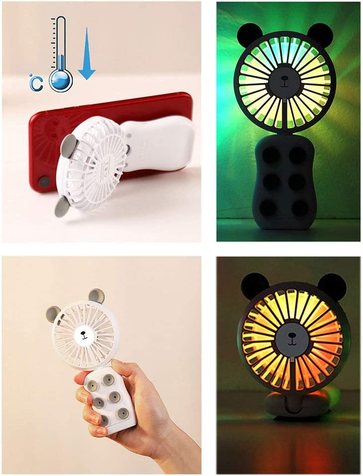 USB Handheld Suction Cup Fan Foldable LED Light Adjustable Portable Suitable for Home Office Travel