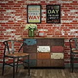 """HaokHome 151009 Vintage Faux Brick Textured Wallpaper Roll Rust Red/White 3D Brick Home Room Decoration 20.8"""" x 393.7"""""""