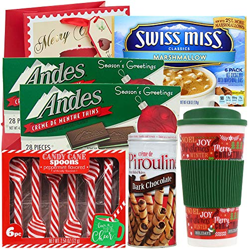 Holiday Gift Set | Travel Mug, Swiss Miss Marshmallow Hot Cocoa, Peppermint Candy Cane Spoons, Andes Crème de Menthe Thin Mints & Pirouline Dark Chocolate Cream Wafers (Set Hot Cocoa)