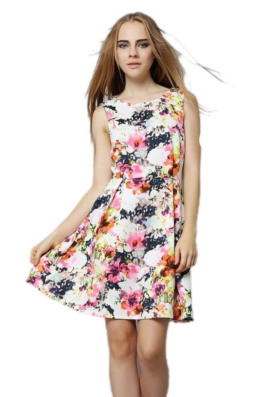 Purpura Erizo Womens Multicoloured Allover Flora Sleeveless Slim Dress