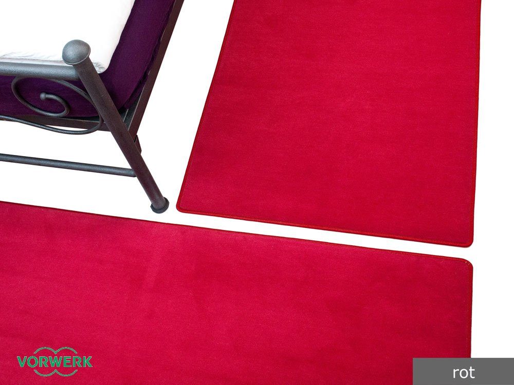 Bijou rot Vorwerk Bettumrandung 3 Teile 2x70x140 cm 1x70x340 cm