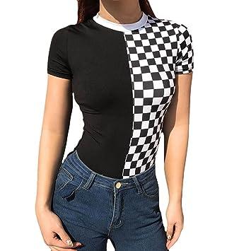 Wawer Camiseta de manga corta para mujer, cuello redondo, estampado a la moda,