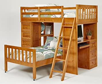 Twin Over Twin L Shaped Bunk Bed With Chest And Desk Ends Finish