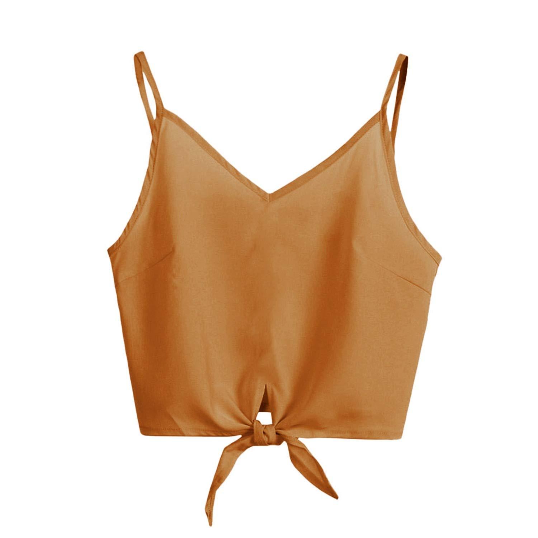 Summer Holiday Womens Crop Top Casual Solid Sleeveless Design Shirt Tank Top