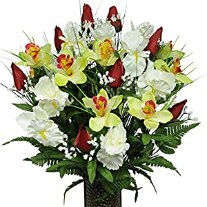 Red Tulips and White Iris Silk Flower Bouquet with Stay-In-The-Vase® Design Flower Holder(MD1232) 12