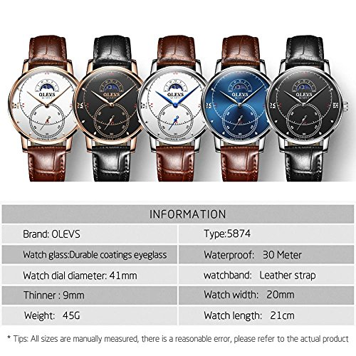 Rose Gold Watches for Men,Brown Leather Watch Men Business Casual Wrist Watch,Fashion Japan Quartz Movement Watch with White Face,Men's 30m Waterproof Wrist Watches,Round White Dial by OLEVS (Image #5)