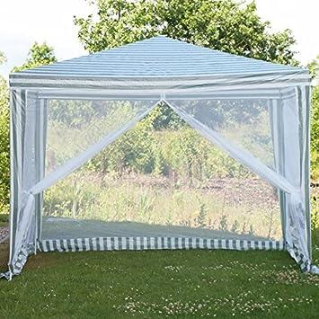 PE Pavillon de jardin Auvent pour tente de fête avec moustiquaire ...