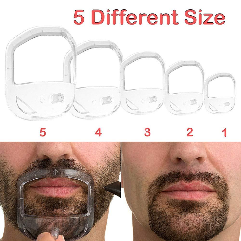 Ocamo Men 5 Sizes Beard Care & Grooming Kit Beard Shaping Tool Beard Modeling Tool with Storage Bag 5 Pcs/set