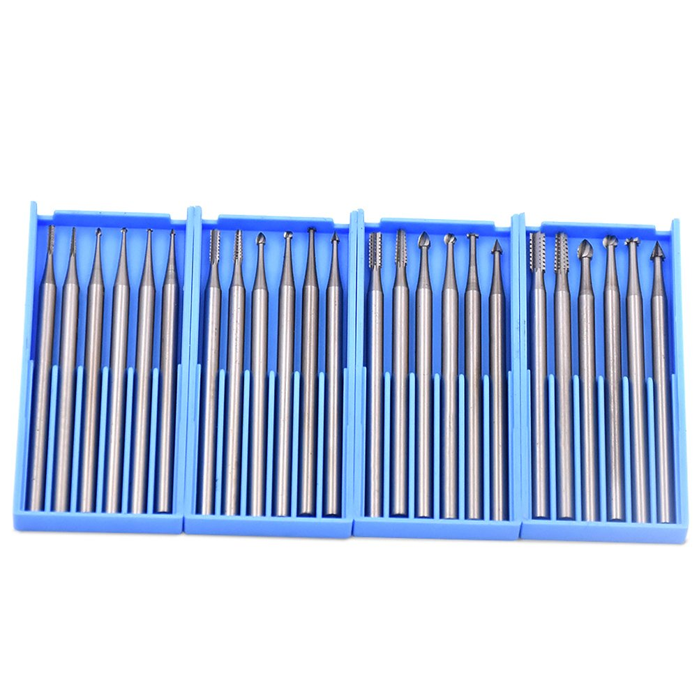 GOXAWEE 24pcs Mini Rotary Tools Steel Burs With 2.35mm Shank For Jewelry/Wood/Metal Working - Engraving Grinding Polishing Drilling Value Burr Included 4 Size # 0.9mm/1.4mm/1.8mm/2.3mm