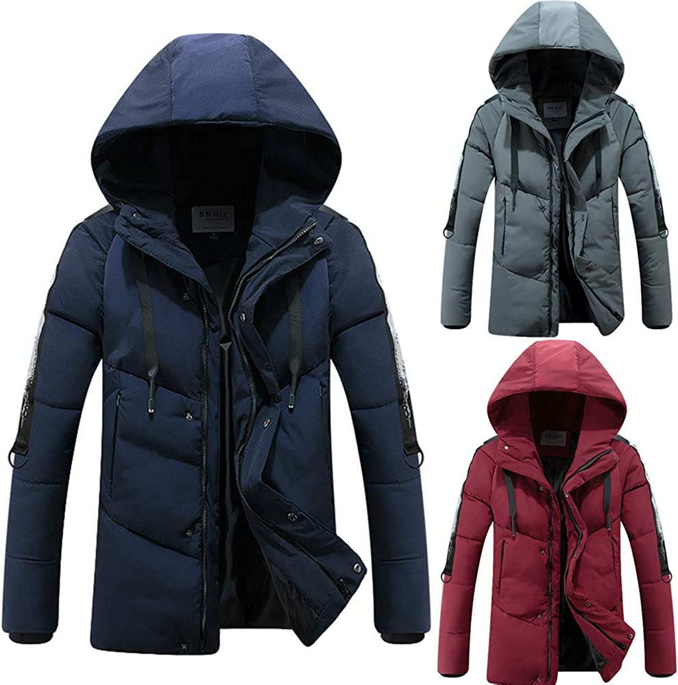 Mens Down Coats,Hip Hop Down Jacket Thickened Hooded Puffer Coat Teen Boys Drawstring Quilted Jacket Zulmaliu