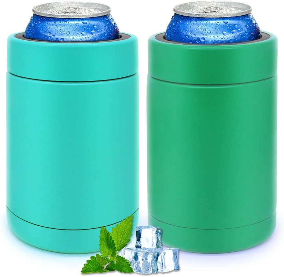 Slim 12 OZ Can Cooler Skinny Double-Walled Stainless Steel Bottle, Cans Insulators for Beverage/Energy Drinks/Beers/Soda, Set of 2