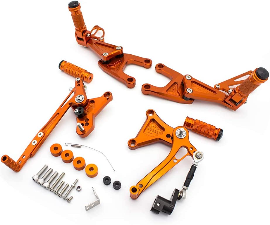 Motorcycle Rearsets Cnc Adjustable Rear Footrest Foot Rest Set For Benelli Tnt 125 135 Tnt125 Tnt135 Bj125 2016 2017 2018 2019 2020 Orange Auto
