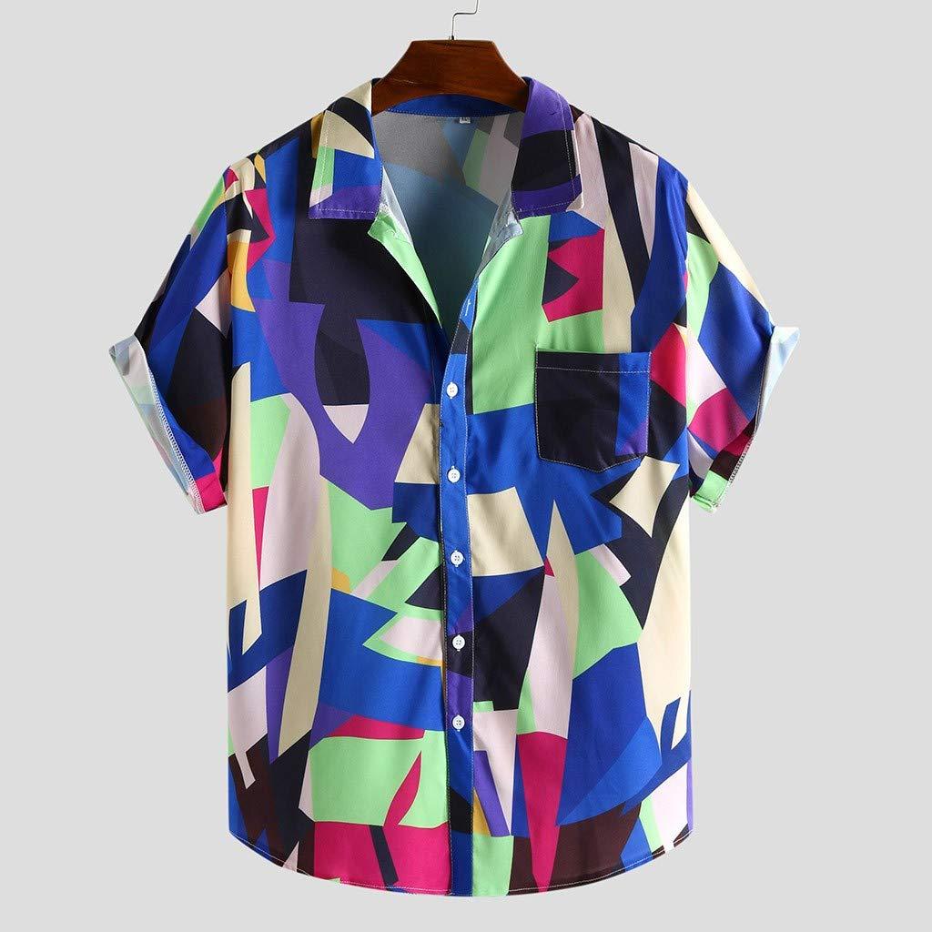 Feibeauty Homme Tee Shirt Vetement Chemise Chemisette fit Courte Manche col v imprim/é g/éom/étrique de Couleur contrast/ée Facile Carreaux