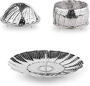 Stainless Steel Vegetable Steamer Folding Steamer Basket/Insert for Pans & Pressure Cookers (Large)