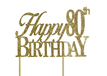 Amazoncom All About Details Gold Happy80thbirthday Cake Topper