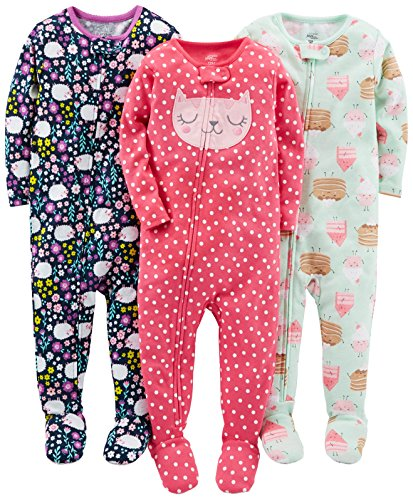 Simple Joys by Carter's Baby Girls' 3-Pack Snug-Fit Footed Cotton Pajamas, Sweets/Floral/Kitty, 12 Months