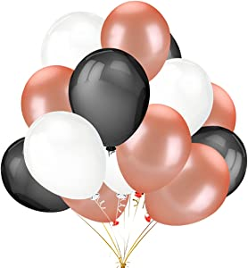 50 Pack 12 Inch 2.8g/pc Thicken Round Metallic Pearlescent Latex Balloons - Shining Rose Gold & Black & White Color Latex Party Balloons Party Decorations Supplies